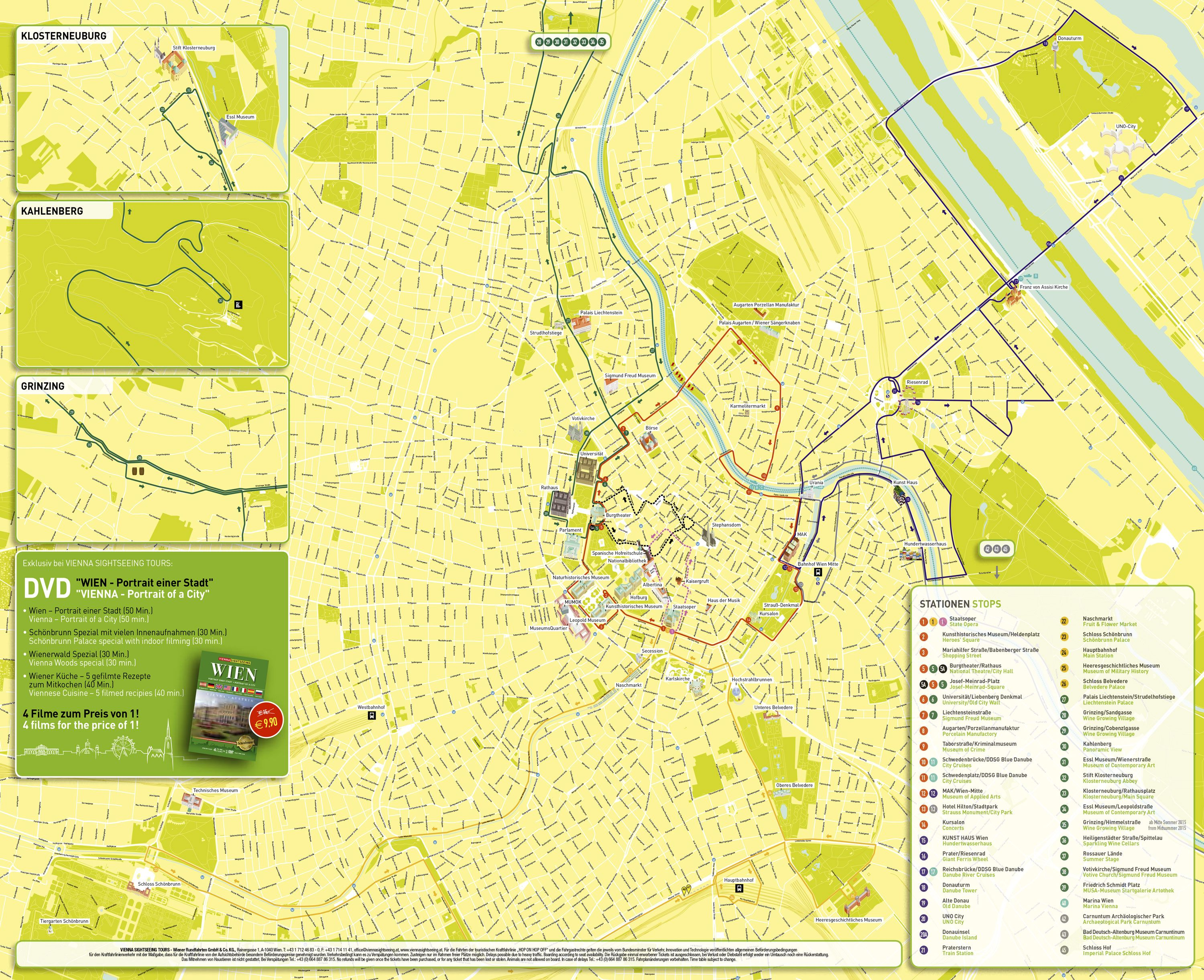 Map of Vienna hop on hop off bus tour with Vienna SightSeeing http