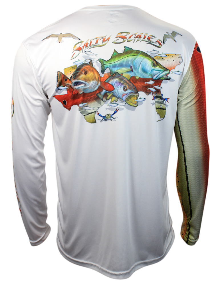 c876e02a1ae4 New for 2016, the Salty Scales inshore slam shirt featuring a redfish,  trout and snook. Premium American performance apparel.