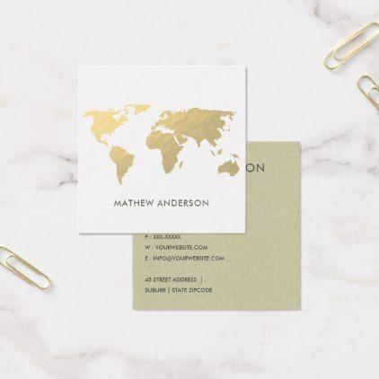 Elegant gold faux kraft world map personalised square business card elegant gold faux kraft world map personalised square business card sophisticated gifts reheart Choice Image