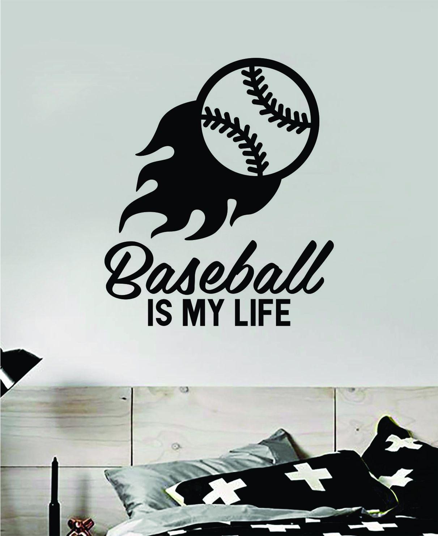 Baseball Is My Life V7 Quote Decal Sticker Wall Vinyl Art Home Decor Inspirational Nursery Boys Sports Teen Ball Pitcher Homerun Kids Softball - vivid blue