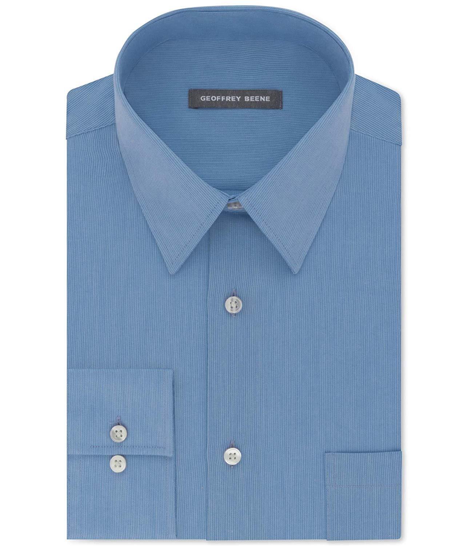 Geoffrey Beene Mens Regular Fit Sateen Solid Dress Shirt