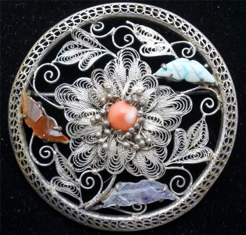 Chinese Export Carved Amethyst Carnelian Coral Silver Filigree Brooch Art Deco | eBay