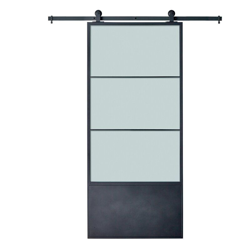 Metal Concorde Frosted Glass Barn Door With Installation Hardware