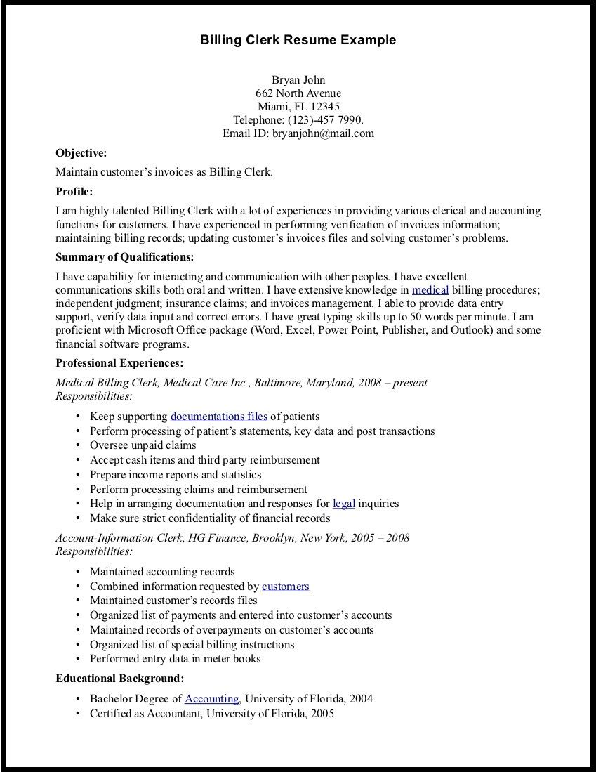 medical billing manager resume sample ideas