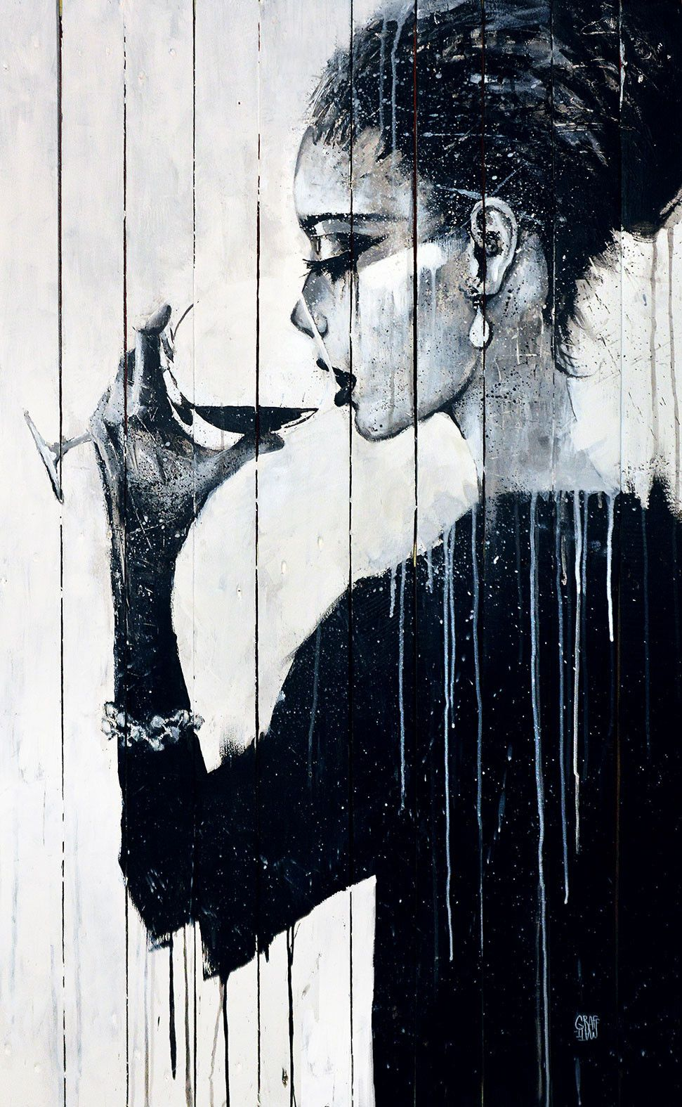 Femme au verre de vin by graffmatt painting graffiti for Painting while drinking wine
