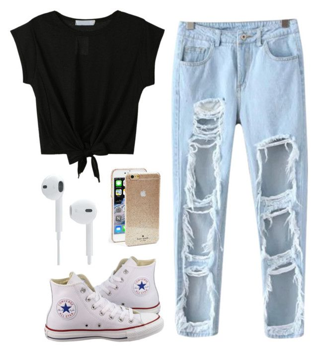 """""""Untitled #45"""" by henal ❤ liked on Polyvore featuring Chicnova Fashion, Converse and Kate Spade"""