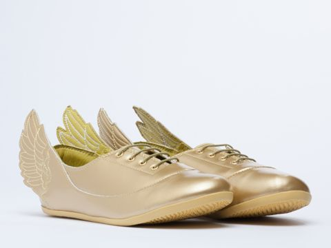 Adidas Originals X Jeremy Scott Wings Easy Five in Metallic Gold at Solestruck.com