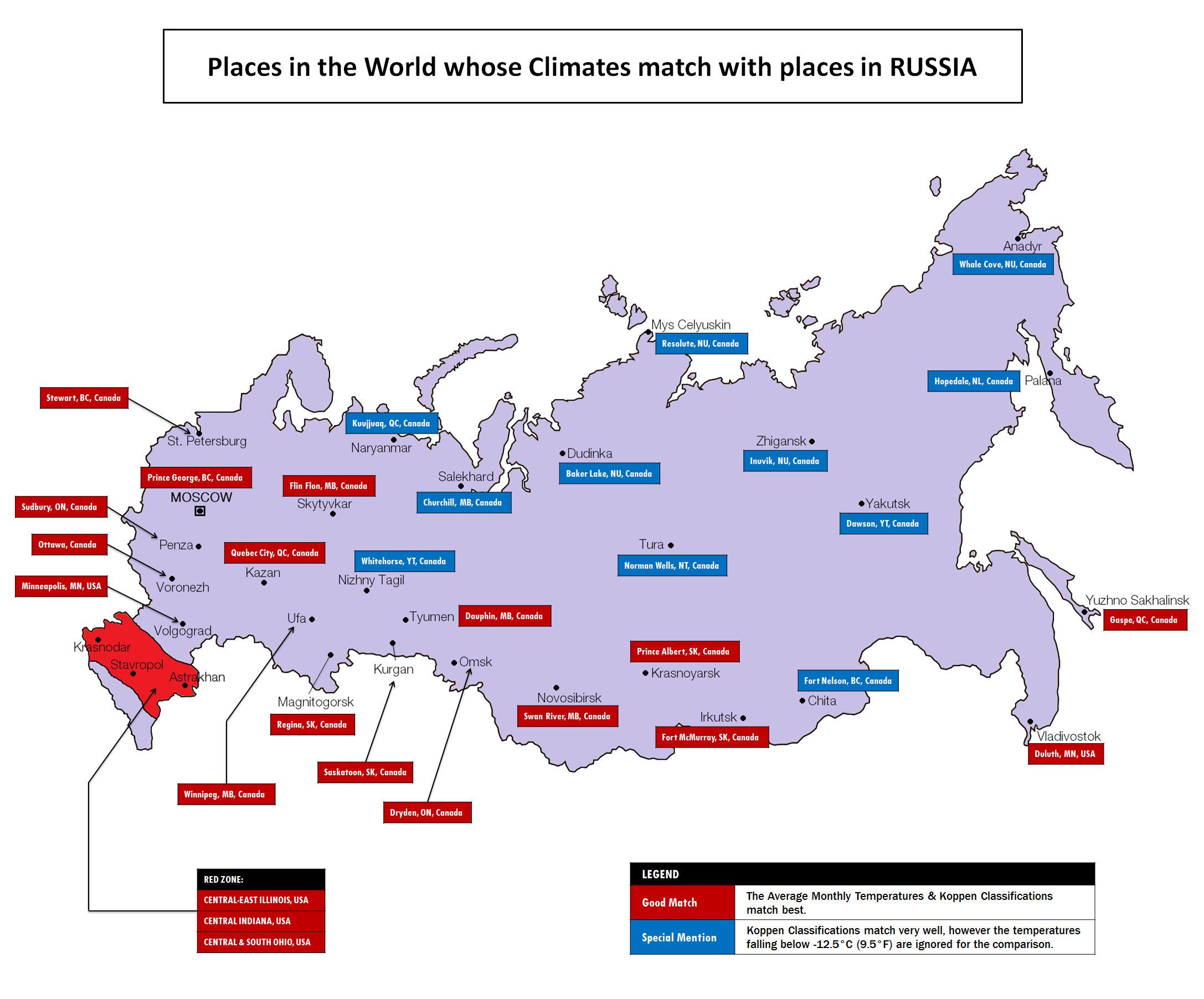 Places in Canada/USA whose climates match with Russia | MAPS