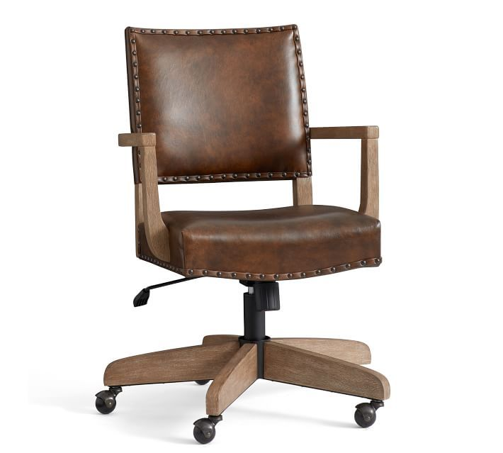 Manchester Leather Swivel Desk Chair In 2020 Swivel