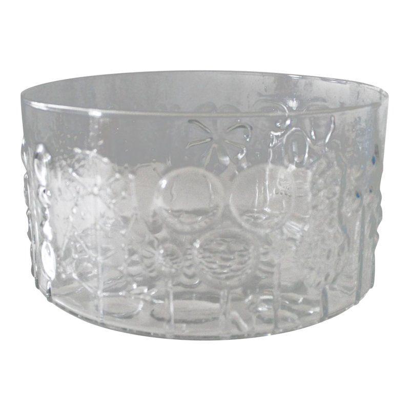 Nuutajarvi Finland Flora Large Glass Bowl Vase Oiva Toikka 95