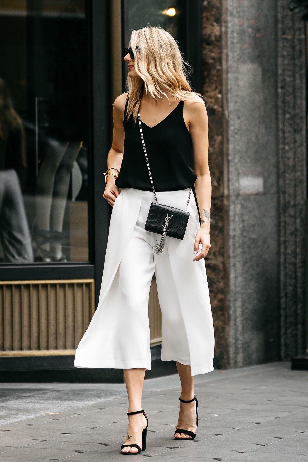 42b9abc8f7e2 Fashion Jackson, Dallas Blogger, Fashion Blogger, Street Style, Topshop  Black Cami Tanktop, White Culottes, Saint Laurent Monogram Cassandre  Crossbody ...
