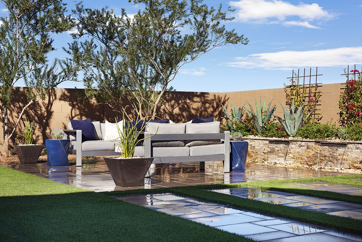 Inviting Patio Amp Garden With Blue Accents Raven Model