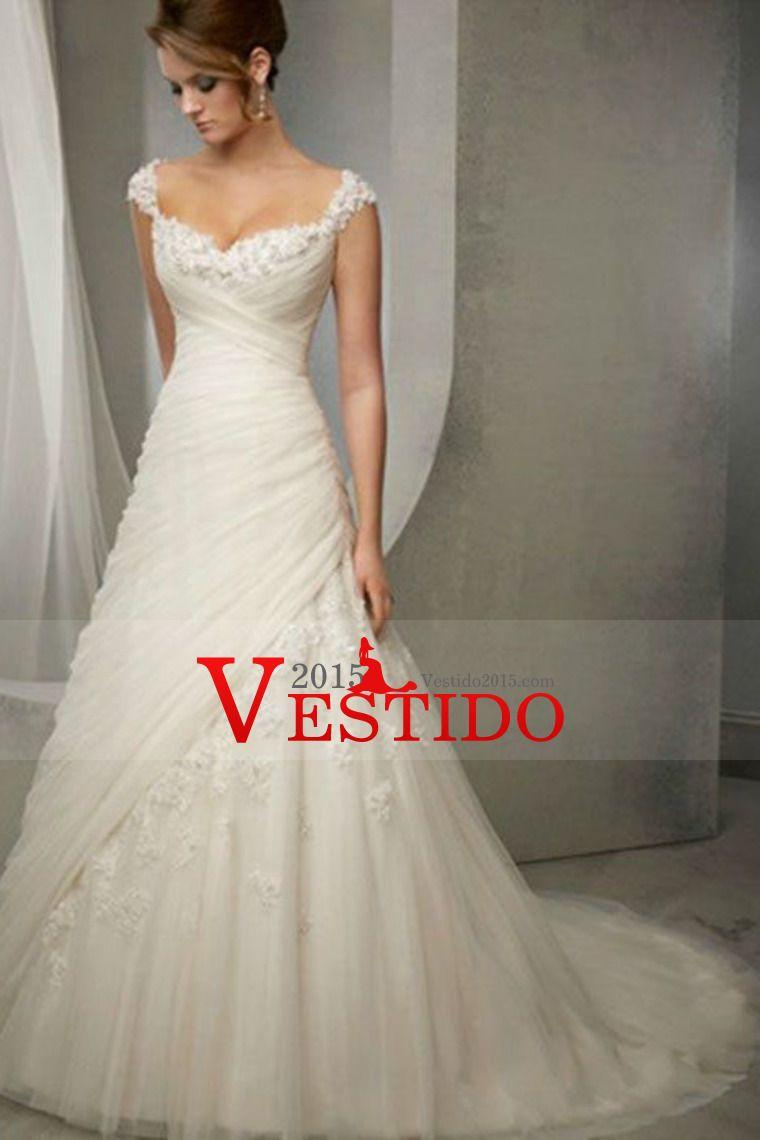 2014 Correas vaina / columna de la boda vestido de blusa plisada con cuentas de cristal Apliques