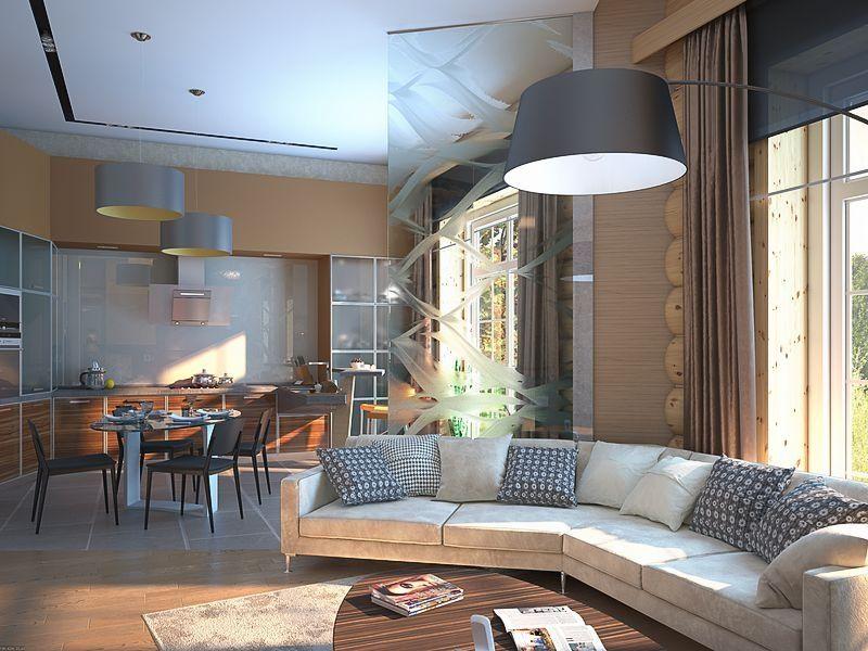 дизайн кухня гостиная в загородном доме фото