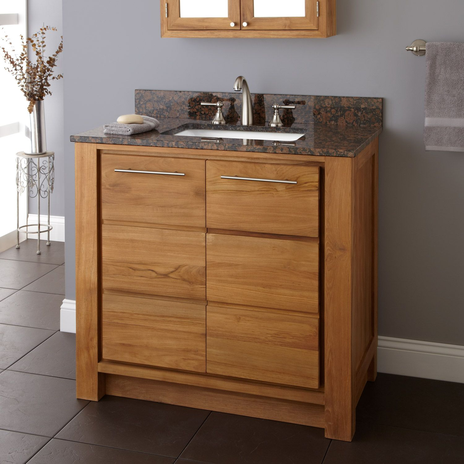36 Antioch Teak Vanity For Rectangular Undermount Sink  Natural