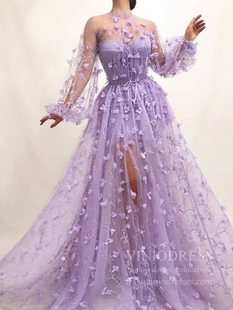 3d Lilac Floral Prom Dresses With Long Sleeves Fd1726 In 2021 Prom Dresses Long With Sleeves Fairytale Dress Prom Dresses With Sleeves [ 1200 x 900 Pixel ]
