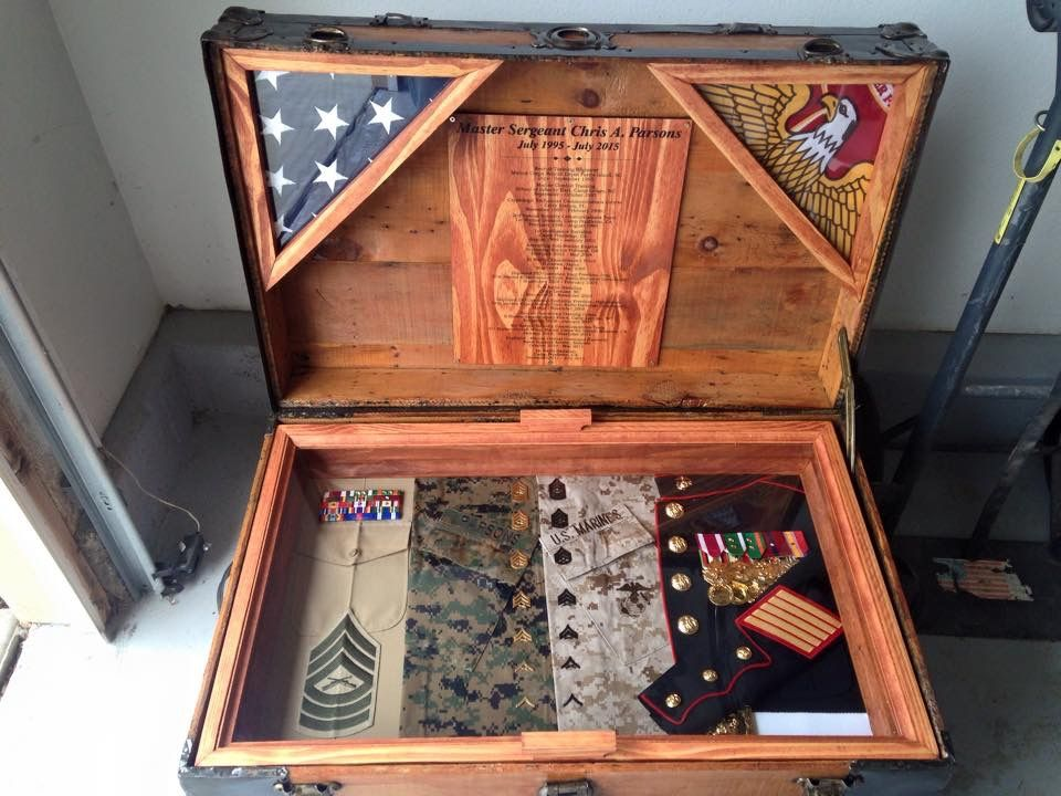 Chris\' Antique Trunk Used as Marine Retirement Shadow Box and ...