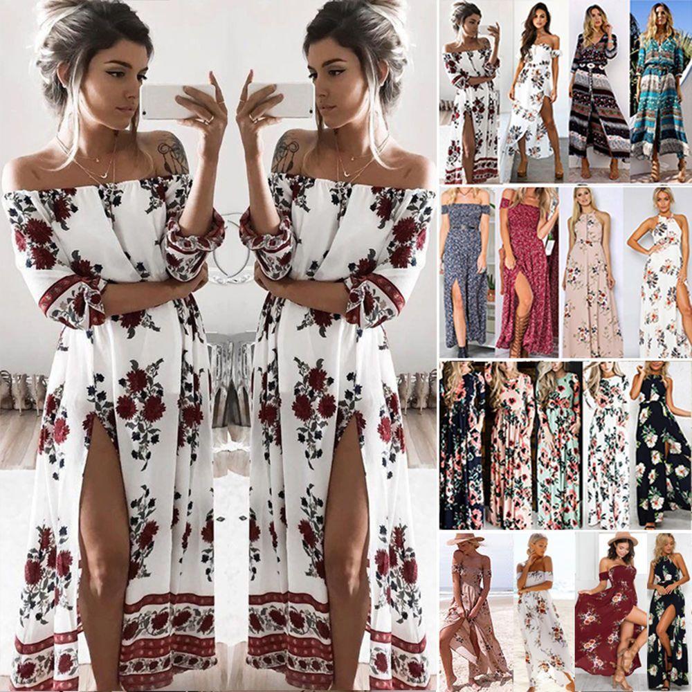 e864caaa7c6 Vintage Womens Summer Boho Long Maxi Dress Party Beach Dress Floral  Sundress Top