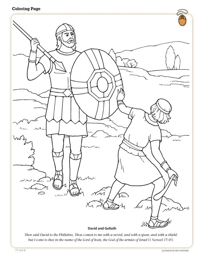 Coloring Page Friend July 2010 Friend Sunday School Coloring Pages Bible Coloring Pages David And Goliath