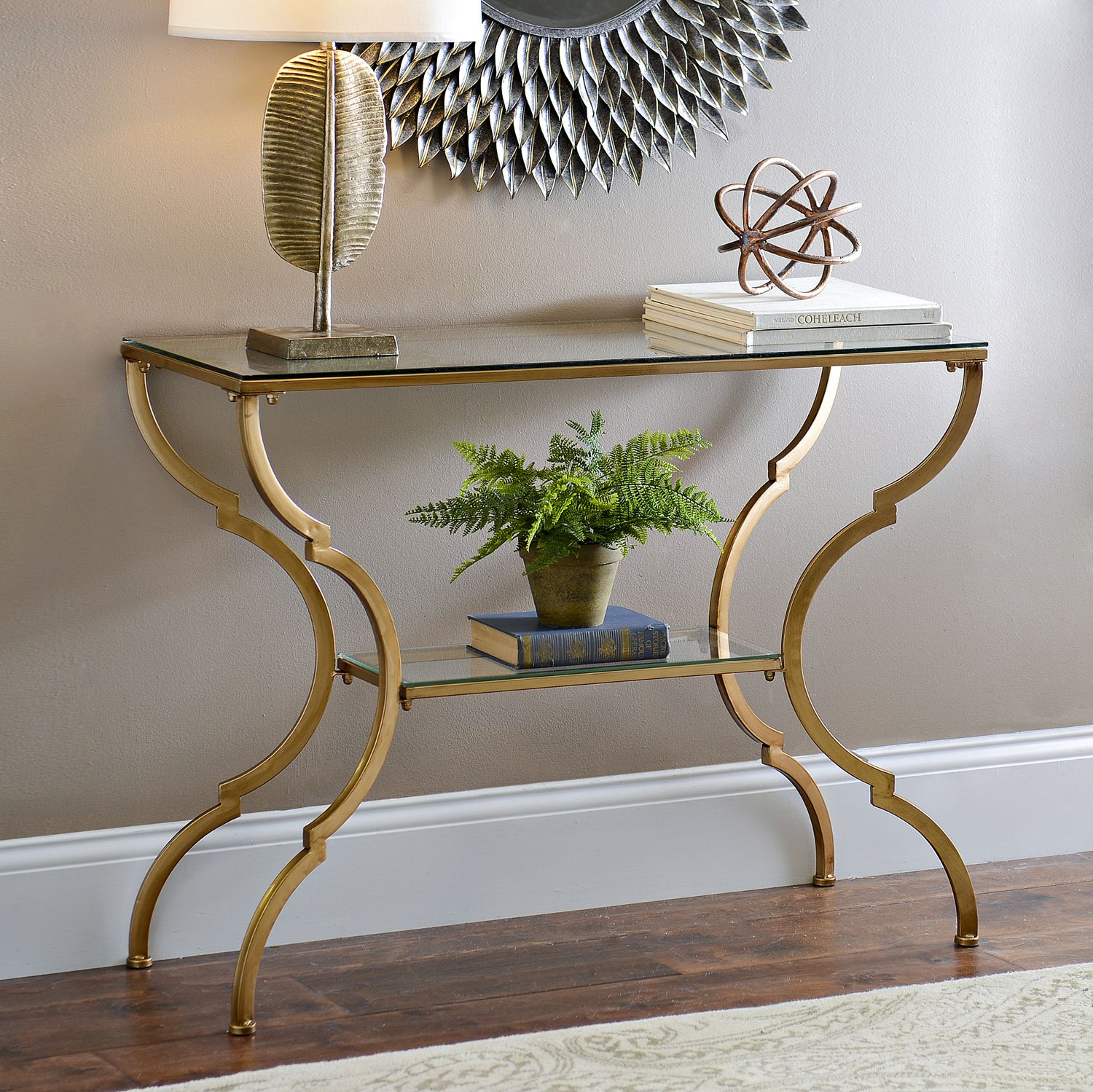 Geometric Gold Glass Console Table Modern Console Tables Gold