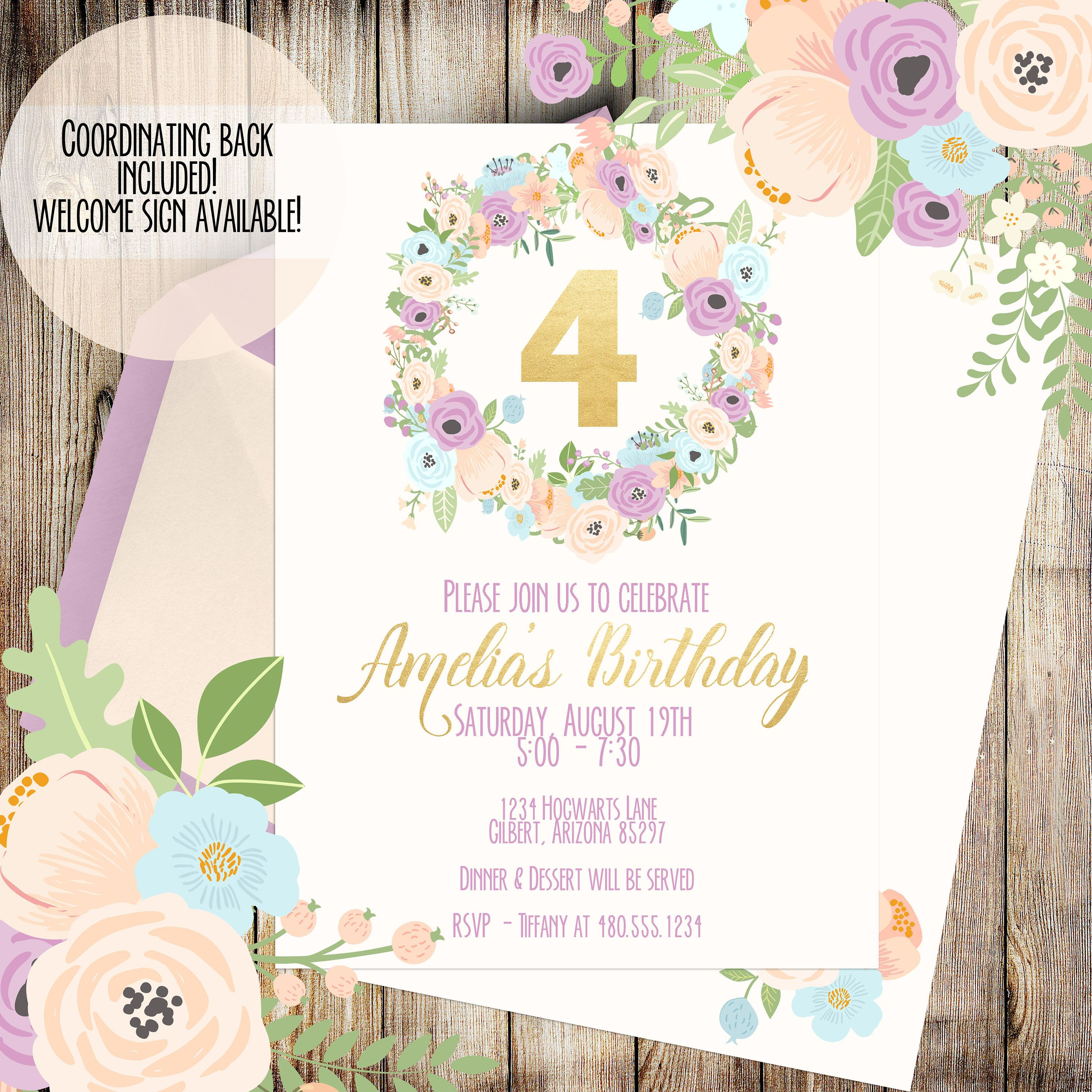 Pink Birthday Invitation | First Birthday Invitation | Girls ...