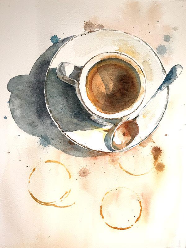 Aquarell-Kaffee-Malerei-Finale – #AquarellKaffeeMalereiFinale #kunst