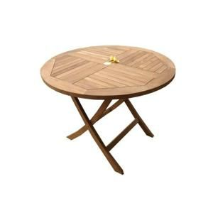 TABLE DE JARDIN Table ronde pliante en teck brut, 100 cm ...