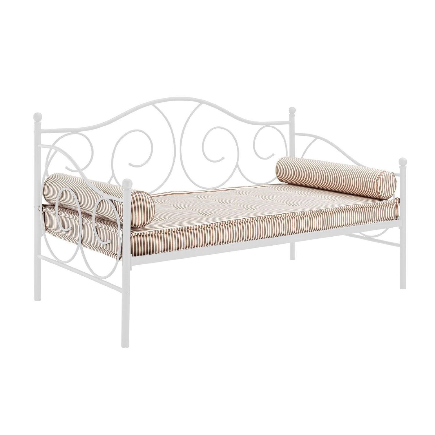 White metal daybed with floral finials - Twin Size White Metal Day Bed Frame 600 Lb Weight Limit