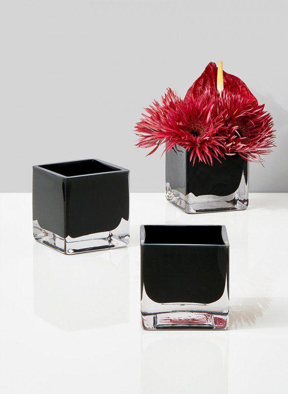 3in Black Glass Cube Vase Square Glass Vase Pinterest Black