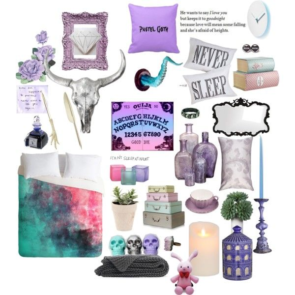 lavender pastel goth bedroom moodboard by prettyroses on polyvore - Goth Bedroom Decorating Ideas