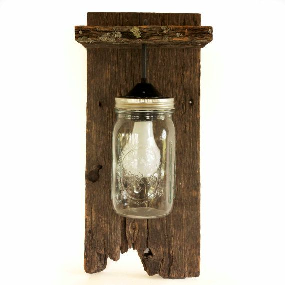 Mason Jar Light Wall Fixture Barnwood Wall by ...