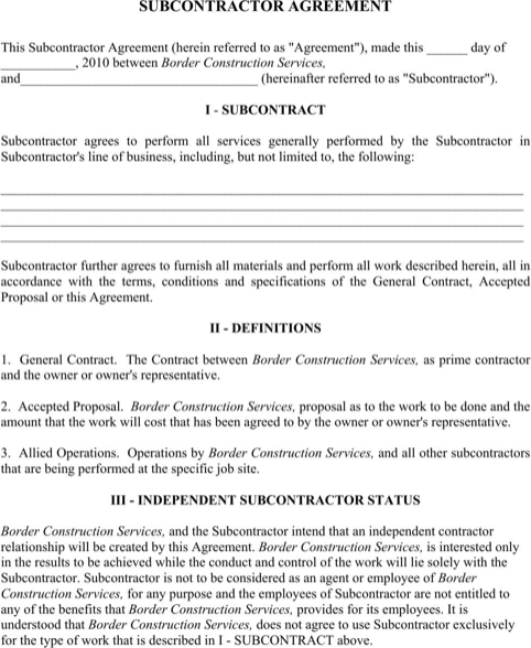 Subcontractor Agreement  TemplatesForms    Template