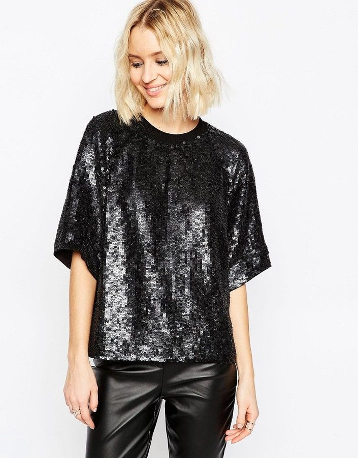 ASOS Glitter Sequin Black Sweat T - Shirt
