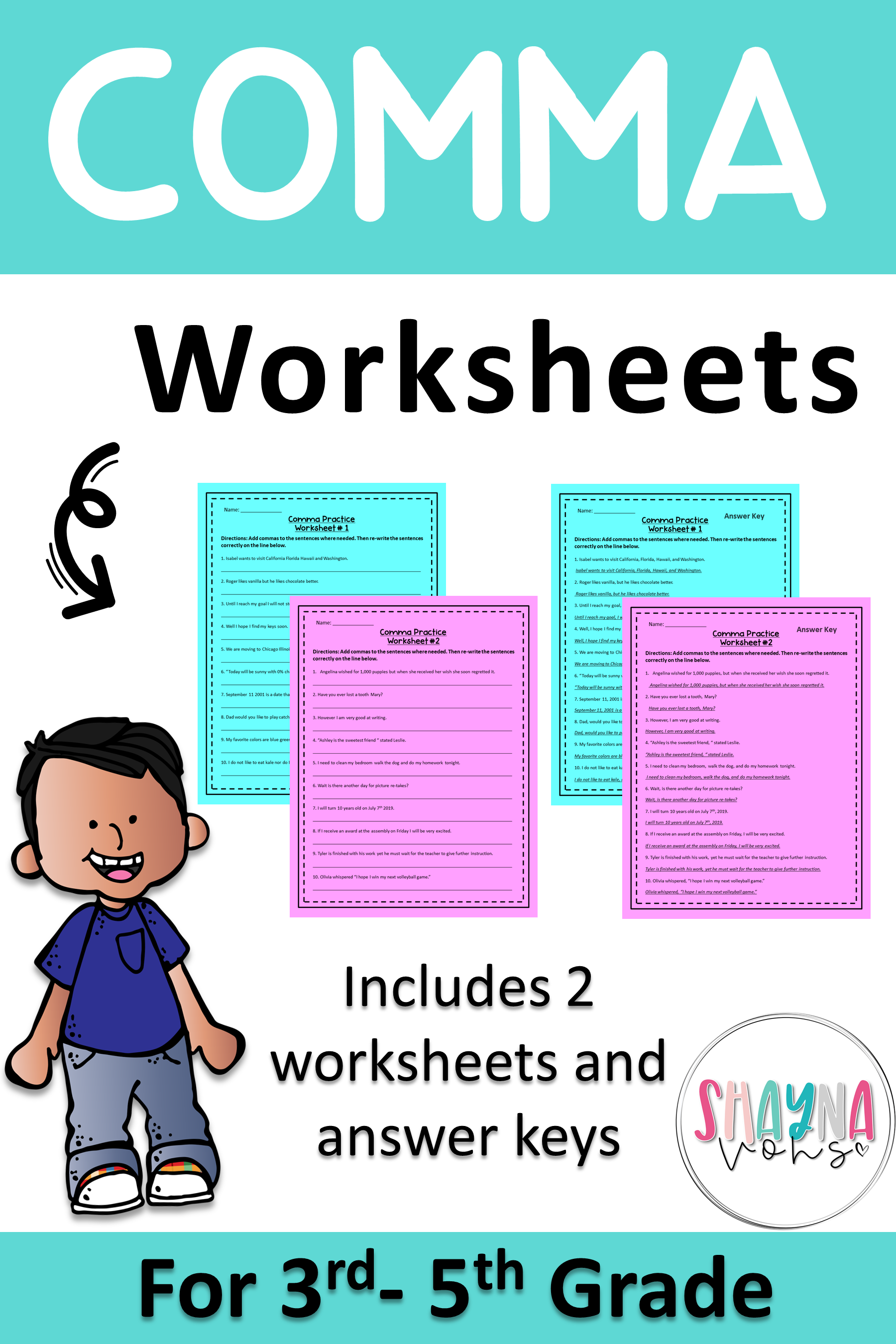 2 Comma Worksheets