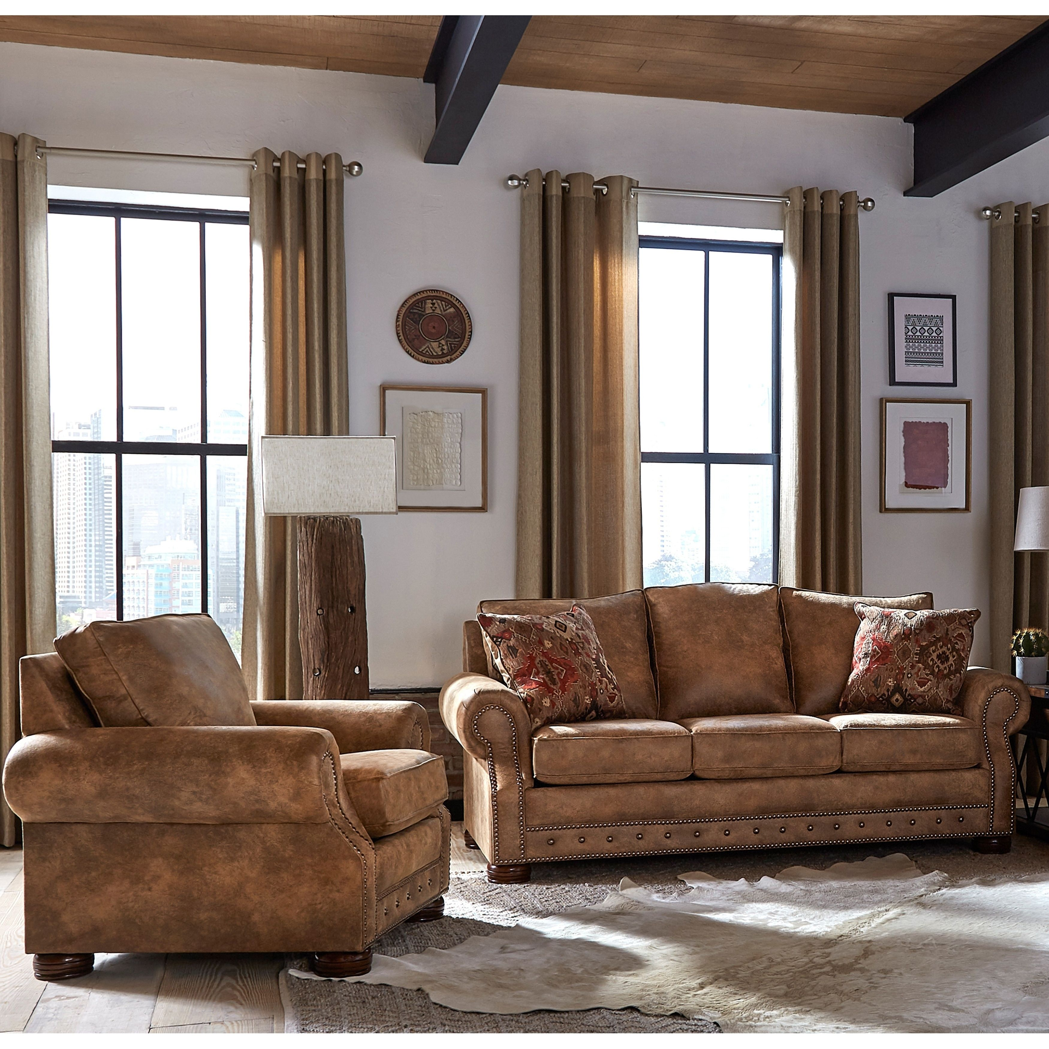 Made in USA Rancho Rustic Brown Buckskin Fabric Sofa Bed and Chair