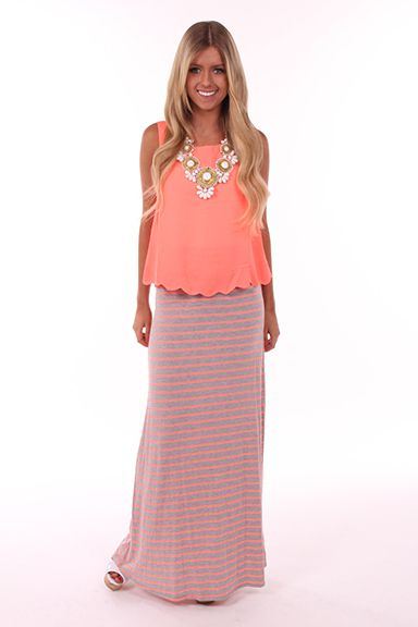 4f4960a7f Lime Lush Boutique - Neon Pink and Grey Striped Maxi Skirt, $26.99 (http: