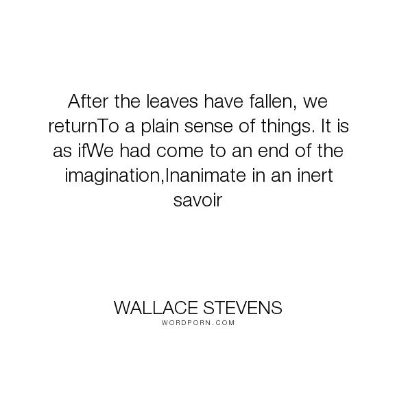 wallace stevens the plain sense of things