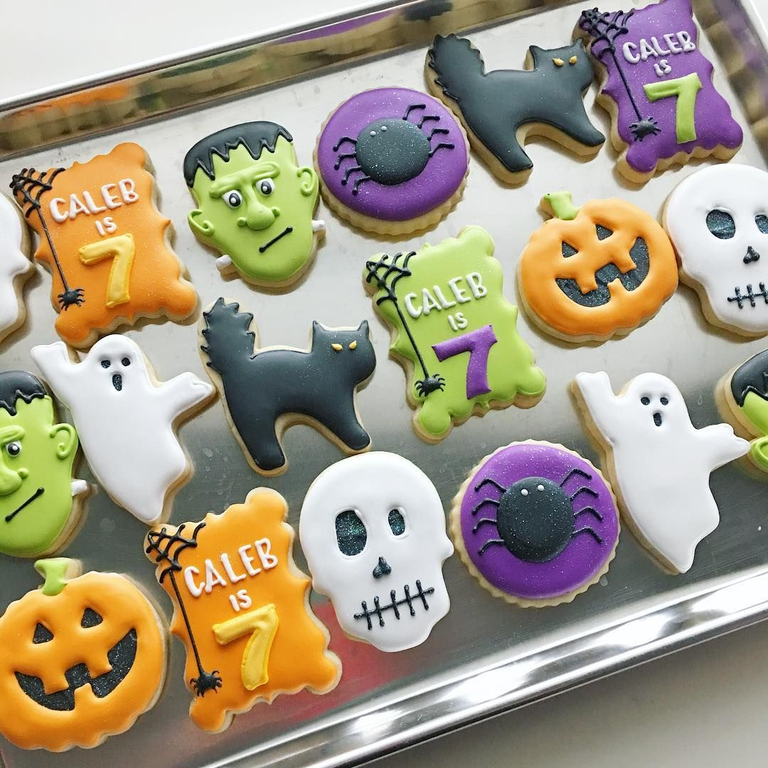 "340 Likes, 11 Comments - Margaret Rettig Nelson (@bluesugarcookieco) on Instagram: ""Halloween Birthday set #halloweencookies #halloweenbirthdaycookies #halloweenbirthday"""