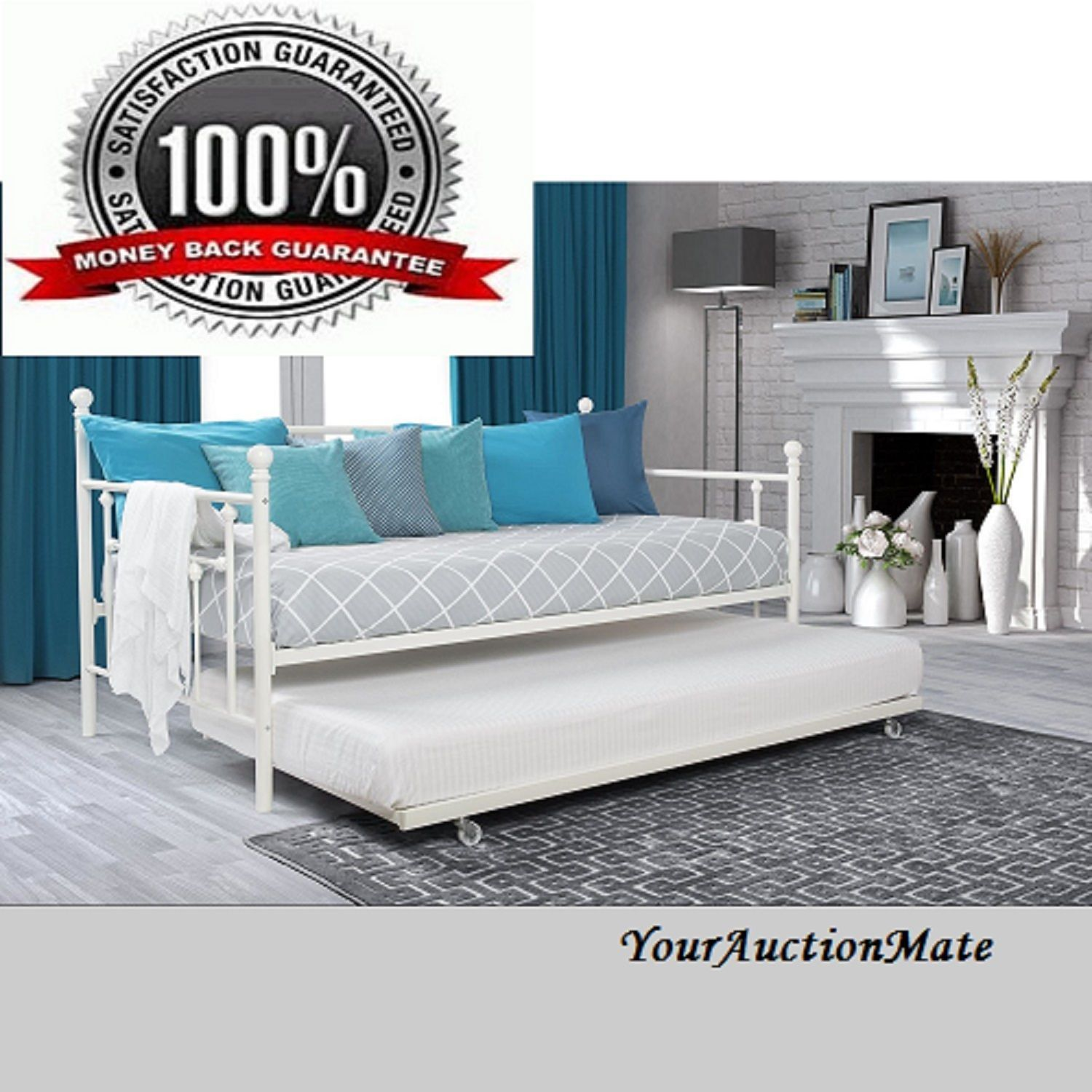 - Daybed Full Size W Twin Size With Roll Out Trundle Manila Metal