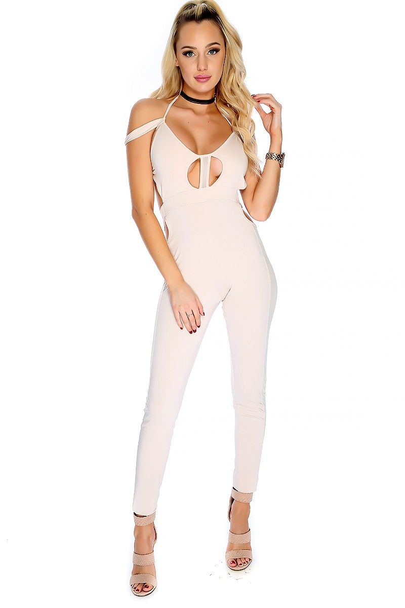 Wear this sexy jumpsuit out. The featuring includes a bold color, cut out design, sleeveless, cutout side mesh, back tie, and finished off with a curve hugging fit. 100% Polyester