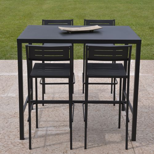 Salon de jardin table de bar 4 chaises de bar acier anthracite Dorio ...