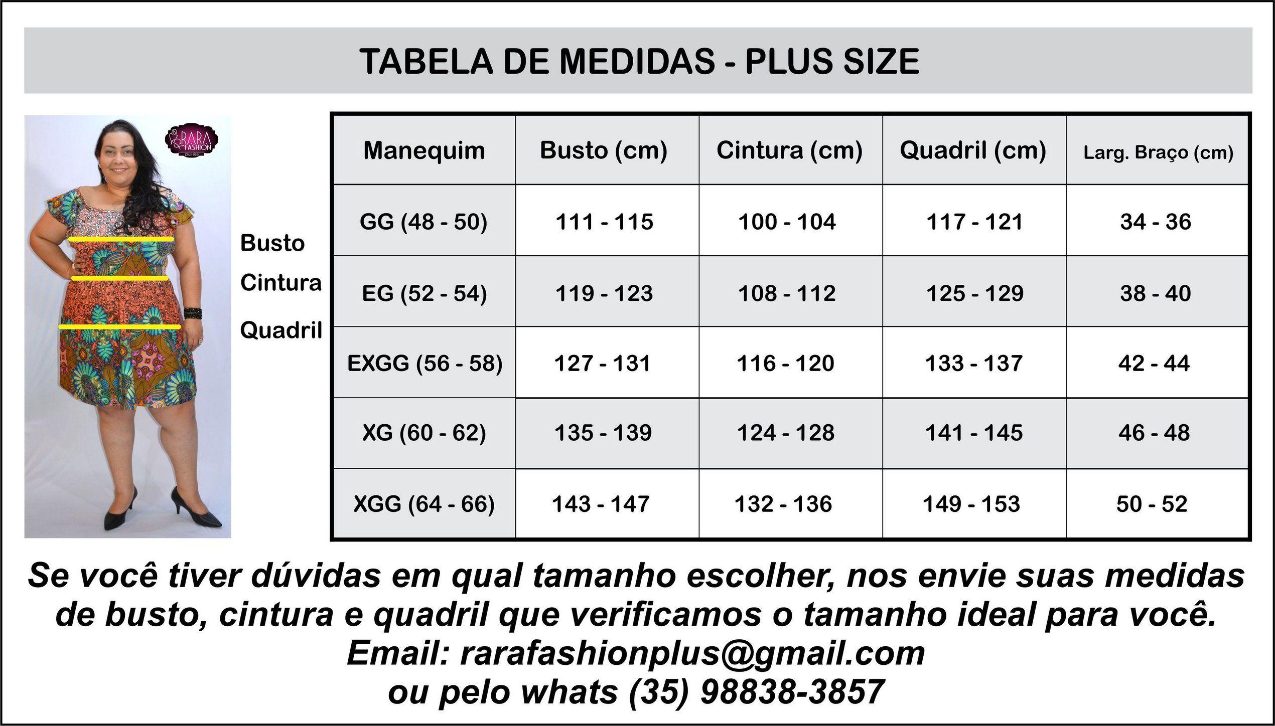 Tabela de Medidas Moda Feminina Plus Size do tamanho 44 ao