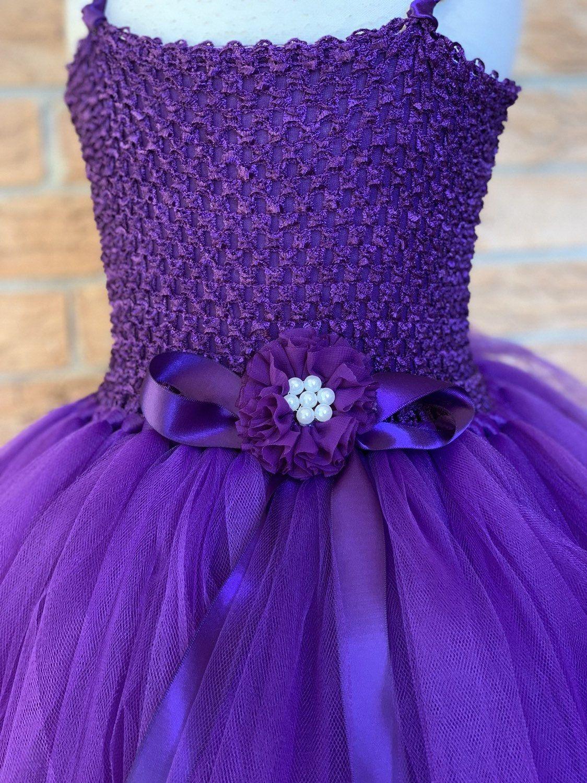 Eggplant plum flower girl dress purple tutu deep purple