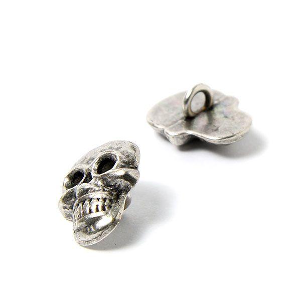Metallic button skull 1 (18) - Metal - silver