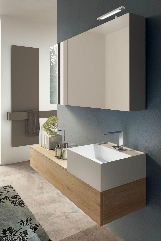 Rustic Oak Bathroom Furniture With Thin Walled Basin Manufactured In Tecnoril Material Modular Storage Italian