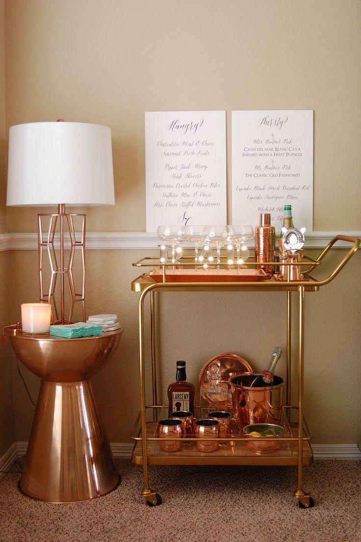bar cart styling copper bar tools copper bar rose gold bar cart - Home Styling Blog