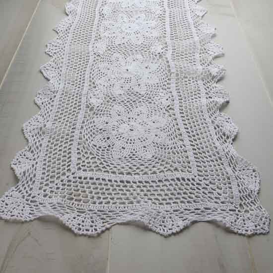 White Crocheted Doily Table Runner Lace Doilies Crochet Doilies Crochet