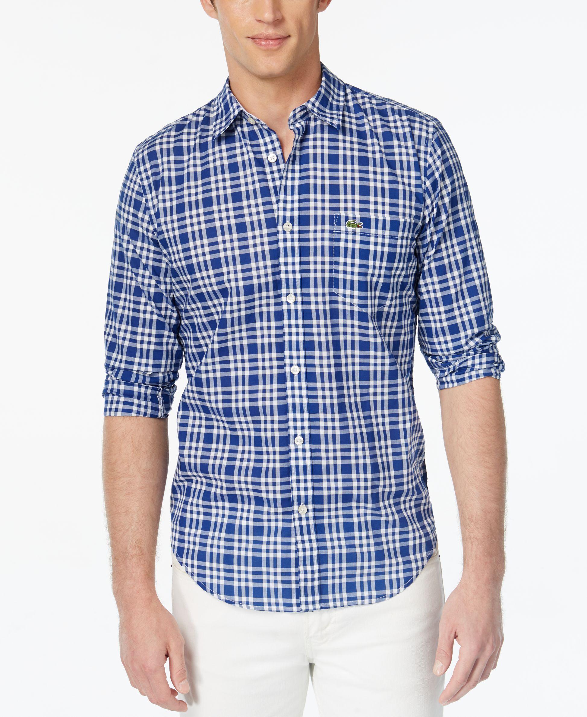 Lacoste Men S Check Poplin Long Sleeve Shirt Casual Button Down