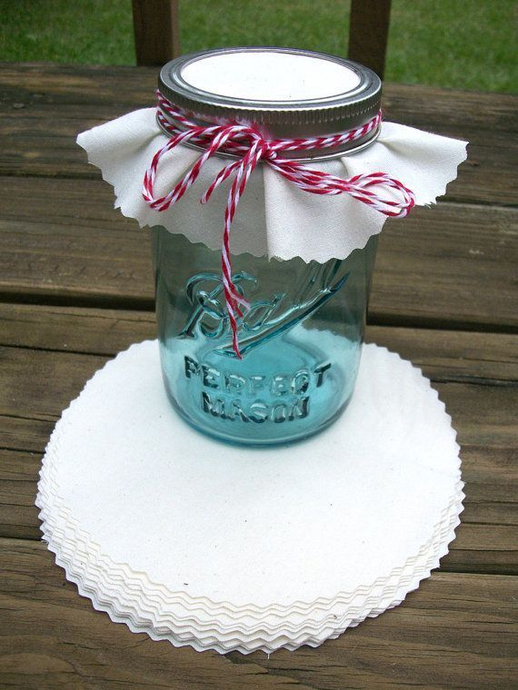 12 White Muslin Jam Jar Covers Mason Jar Crafts Mason Jar Crafts Diy Wedding Gift Favors