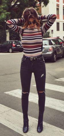 #fall #fashion / rayas de punto